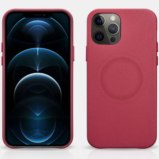 Кожаный чехол iCarer Original Red для iPhone 12 Pro Max