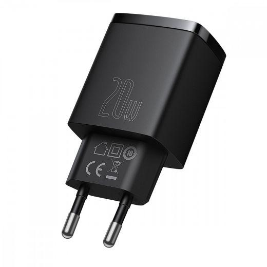 Сетевая быстрая зарядка Baseus Compact Quick Charger 20W QC+ PD Black (1Type-C + 1USB)