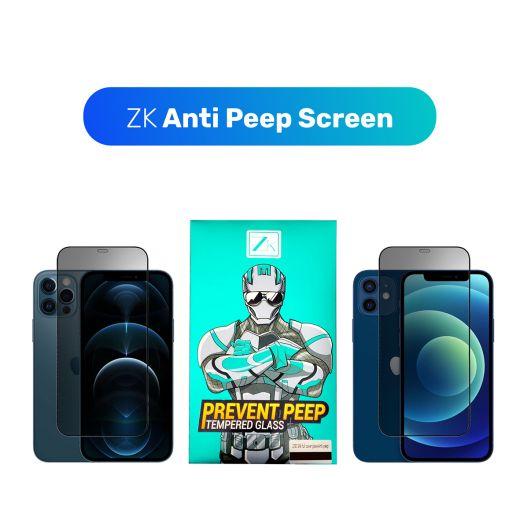 Защитное стекло ZK 2.5D Anti Peep 0.26mm [+ задня пленка в комплекте] Black для iPhone 12/12 Pro