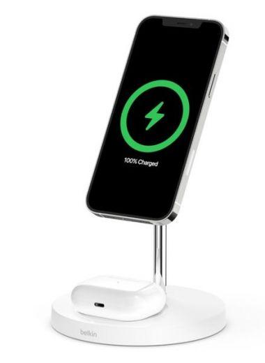 Беспроводное зарядное устройство Belkin MagSafe iPhone 12 2-in-1 Wireless Charger, White (WIZ010VFWH)