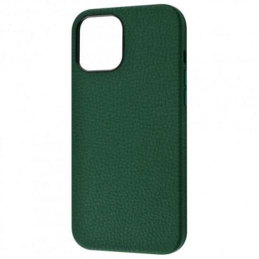 Чехол Genuine Leather Grainy Forest Green для iPhone 12 Pro