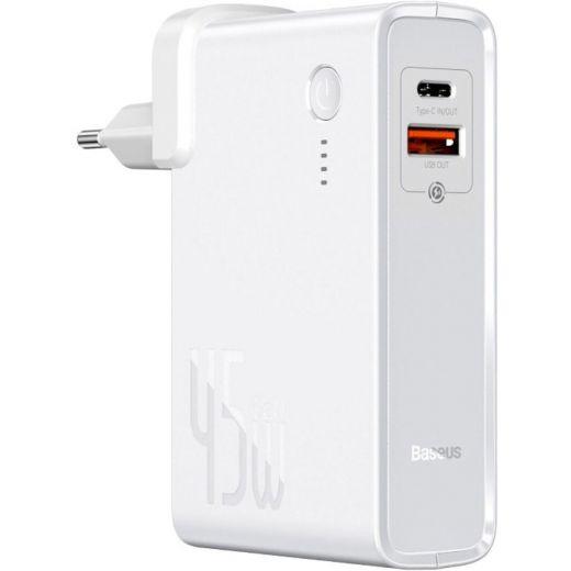 Зарядное устройство Baseus Power Station (GaN) 2 in 1 C+U 10000 mAh 45 Вт White (PPNLD-C02)