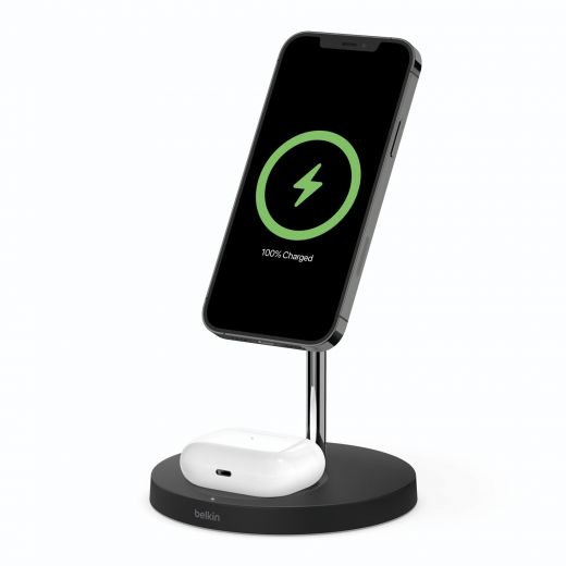 Беспроводное зарядное устройство Belkin MagSafe iPhone 12 2-in-1 Wireless Charger, black (WIZ010VFBK)