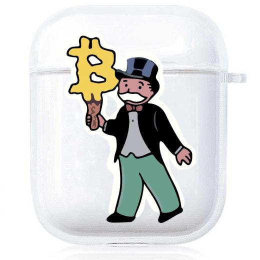 Прозрачный силиконовый чехол Hustle Case Monopoly Ice Cream Clear для AirPods 1   2