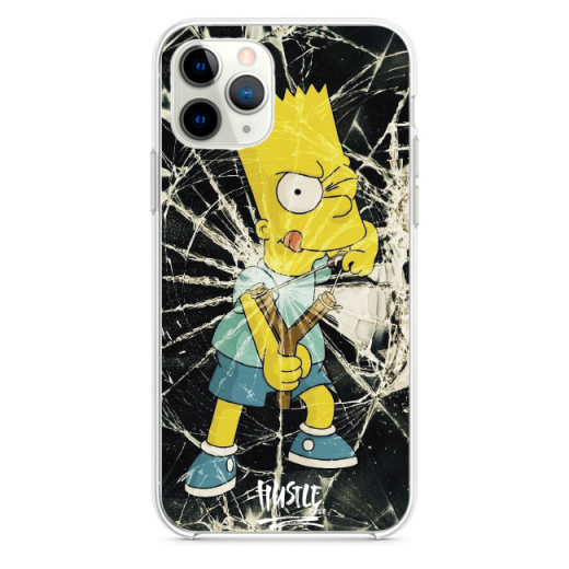 Прозрачный чехол Hustle Case Simpsons Bart Slingshot Clear для iPhone 12 | 12 Pro