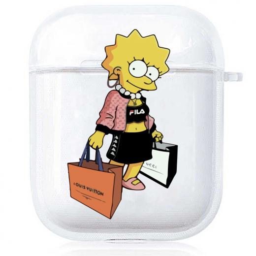 Прозрачный силиконовый чехол Hustle Case Simpsons Lisa Simpson Clear для AirPods 1   2
