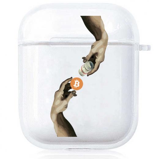 Прозрачный силиконовый чехол Hustle Case Hands BTC=Money Clear для AirPods 1   2