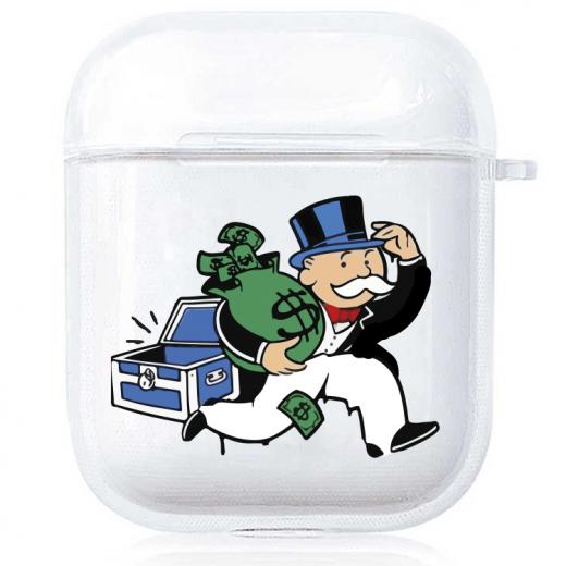 Прозрачный силиконовый чехол Hustle Case Monopoly Make Money Clear для AirPods 1   2