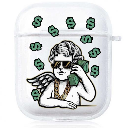 Прозрачный силиконовый чехол Hustle Case Business Angel 2 Clear для AirPods 1   2