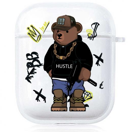 Прозрачный силиконовый чехол Hustle Case Bear Hustle Clear для AirPods 1   2