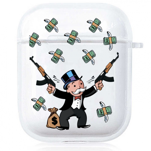 Прозрачный силиконовый чехол Hustle Case Monopoly Kalash Clear для AirPods 1 | 2