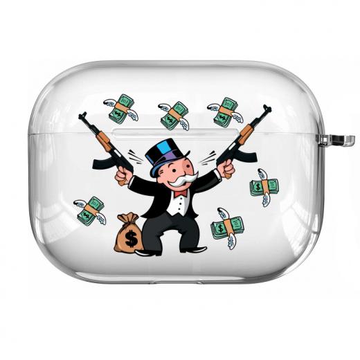 Прозрачный силиконовый чехол Hustle Case Monopoly Kalash Clear для AirPods Pro