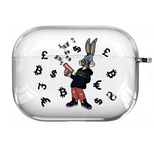 Прозрачный силиконовый чехол Hustle Case Bucks Bunny Gun Clear для AirPods Pro