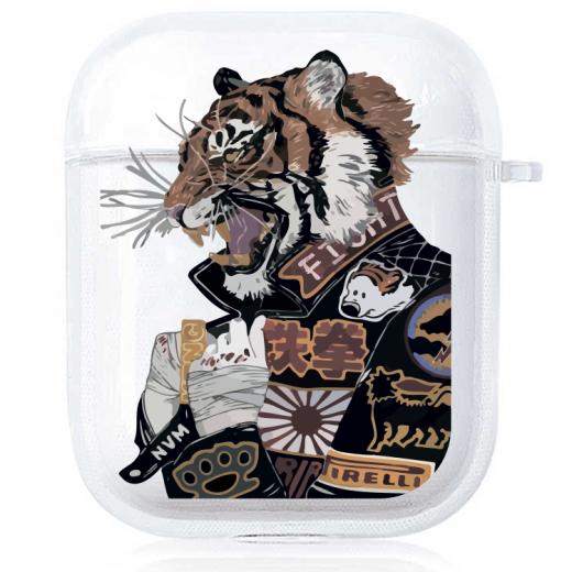 Прозрачный силиконовый чехол Hustle Case Tiger Clear для AirPods 1   2