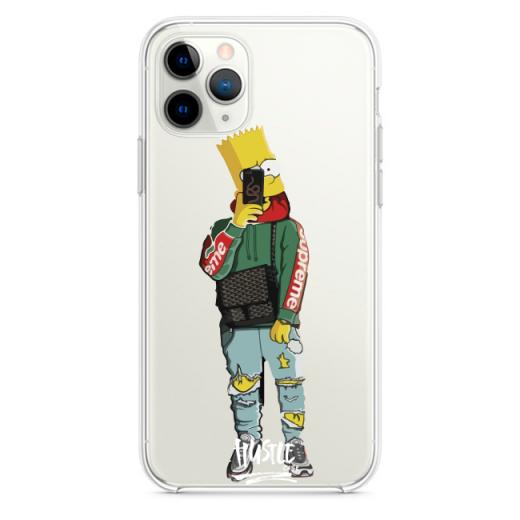 Прозрачный чехол Hustle Case Simpsons Bart Selfie Clear для iPhone 12 | 12 Pro