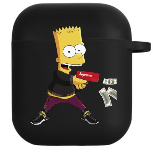 Силиконовый чехол Hustle Case Simpsons Bart Gun Black для AirPods 1   2