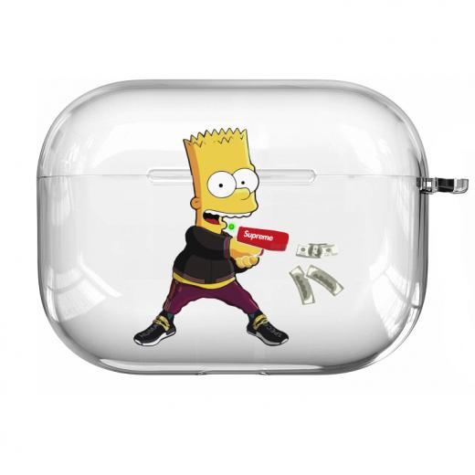 Прозрачный силиконовый чехол Hustle Case Simpsons Bart Gun Clear для AirPods Pro