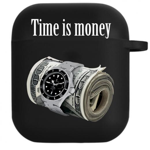 Силиконовый чехол Hustle Case Time is Money Black для AirPods 1 | 2