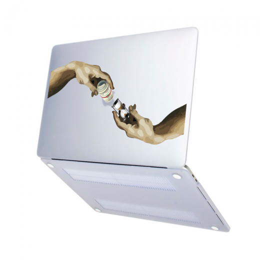 "Чехол-накладка Hustle Case Hands Time=Money Matte Clear для MacBook Air 13"" (M1   2020   2019   2018)"