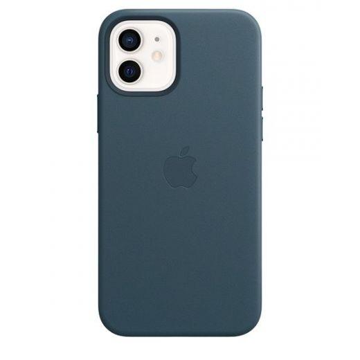 Чехол Apple Leather Case with MagSafe Baltic Blue (MHKE3) для iPhone 12 | 12 Pro