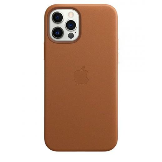 Чехол Apple Leather Case with MagSafe Saddle Brown (High copy) для iPhone 12 | 12 Pro