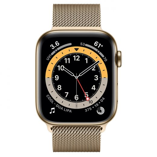 Apple Watch Series 6 (GPS + Cellular) 44mm Gold Stainless Steel Case with Milanese Loop (M07P3)