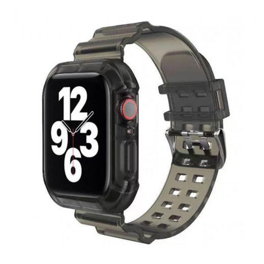 Прозрачный ремешок с чехлом CasePro Black для Apple Watch 45   44   42 mm
