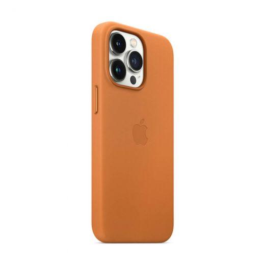 Кожаный чехол CasePro Leather Case with MagSafe Golden Brown для iPhone 13 Pro Max