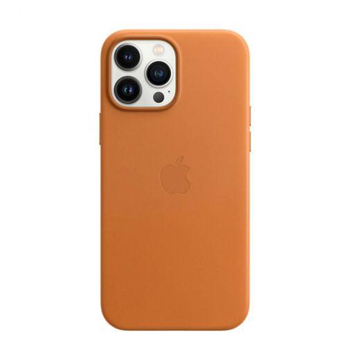 Оригинальный кожаный чехол Apple Leather Case with MagSafe Golden Brown (MM1L3) для iPhone 13 Pro Max
