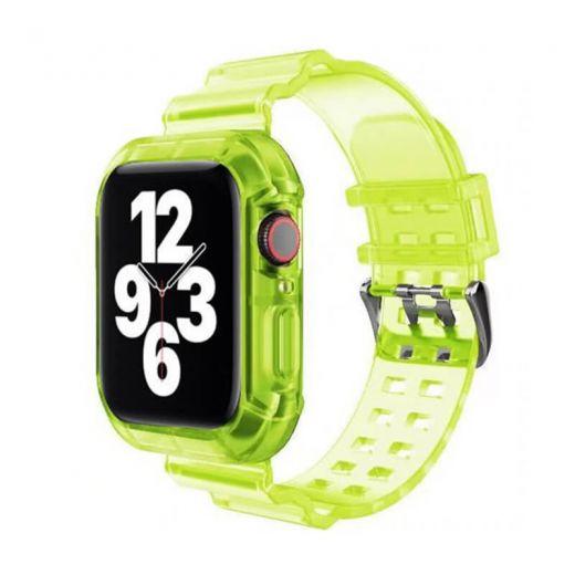 Прозрачный ремешок с чехлом CasePro Yellow для Apple Watch 45 | 44 | 42 mm