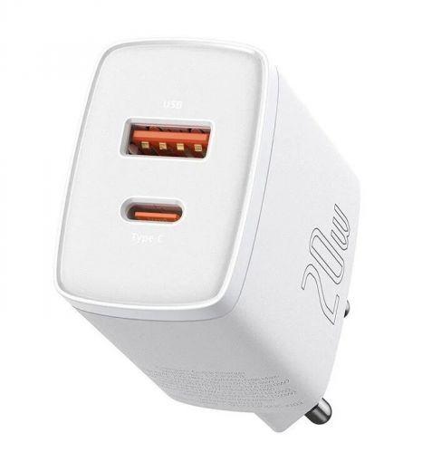 Сетевая быстрая зарядка Baseus Compact Quick Charger 20W QC+ PD White (1Type-C + 1USB)