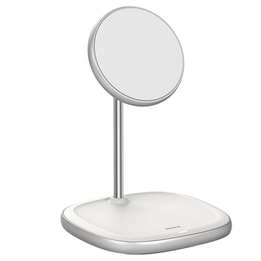 Магнитная беспроводная зарядка Baseus Swan Magnetic Desktop MagSafe White для iPhone 12 mini | 12 | 12 Pro | 12 Pro Max