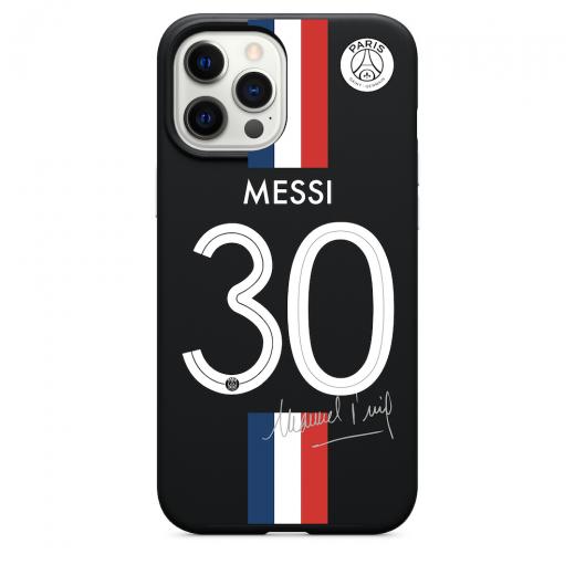 Силиконовый чехол CasePro PSG Jersey Messi Number 30 Black для iPhone 12   12 Pro