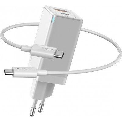 Зарядка Baseus GaN Mini Quick Charger USB+Type-C 45W White