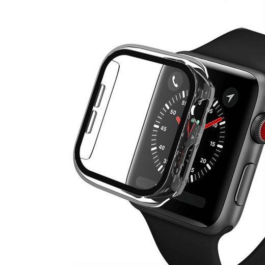 Прозрачный чехол с защитным стеклом CasePro Clear Premium Case PC+Glass для Apple Watch 44mm