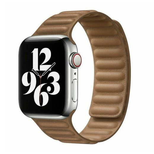 Ремешок Leather Link Magnetic Saddle Brown для Apple Watch 42mm | 44mm (M | L) OEM