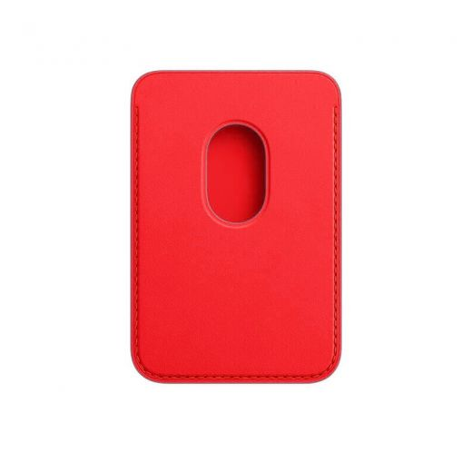 Чехол Apple Leather Wallet with MagSafe Product Red (High copy) для iPhone