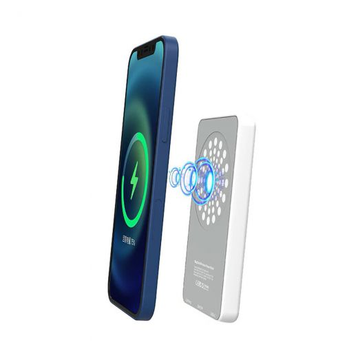 Внешний аккумулятор с беспроводной зарядкой oneLounge MagSafe Wireless Charger Power Bank 5000mAh White (с поддержкой анимации)