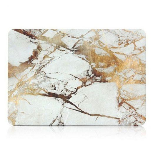 "Пластиковый чехол Marble White   Yellow для MacBook Pro 13"" (2020)"