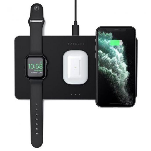 Беспроводная зарядка Satechi Trio Wireless Charging Pad для iPhone/Samsung/Apple Watch/AirPods (ST-X3TWCPM)