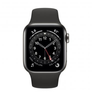 Apple Watch Series 6 GPS + Cellular 40mm Graphite Stainless Steel Case with Black Sport Band (M02Y3)