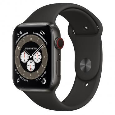 Apple Watch Series 6 Edition 44mm Space Black Titanium Case with Black Sport Band (M0H13)