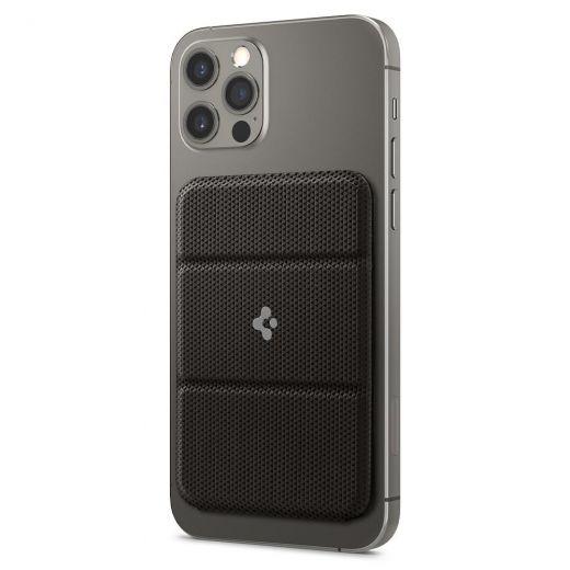 Кожаный чехол-бумажник с подставкой Spigen MagSafe Card Holder Smart Fold Wallet Gunmetal для iPhone 12 mini | 12 | 12 Pro | 12 Pro Max